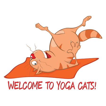 Essential Yoga Poses for Cats. Vector Illustration of a Cute Cat. Cartoon Character