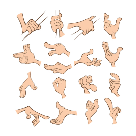 A Set of Vector Cartoon Illustrations. Hands with Different Gestures for you Design