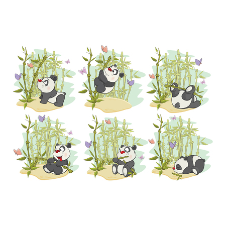 Fun Animal Comics. Vector Illustration of a set of funny panda bear 일러스트