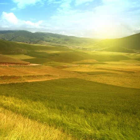 Beautiful mountain rural landscapes photo