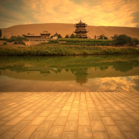 Crescent Lake in dunhuang china