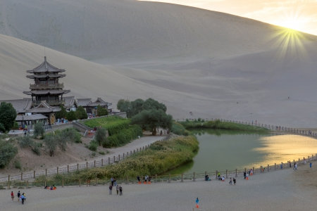 Sunset Crescent Moon Spring in Dunhuang, China