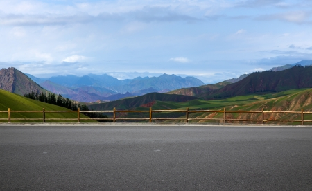 Road and mountain background (you can do car ads background) photo