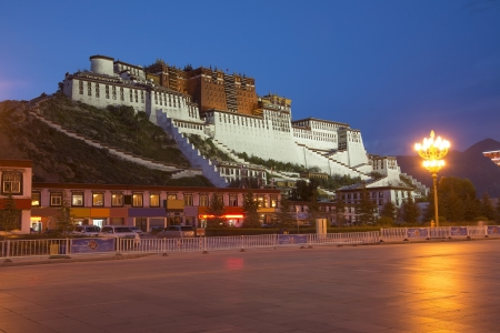 China Potala Palace at dusk the night tibet