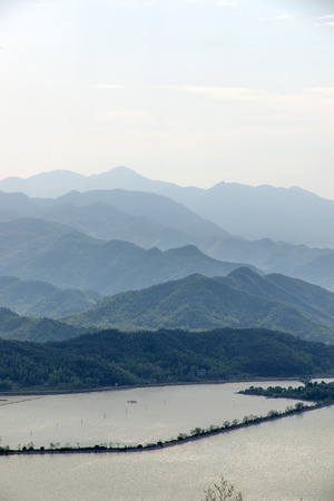 Chinese river mountain scenery photo