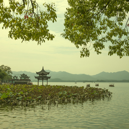 hangzhou Chinese lotus pavilion photo