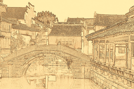 Sketch effect of China Wuzhen photo