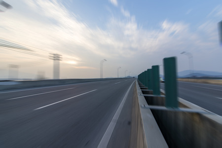 urban highway road in speed mode Stock Photo