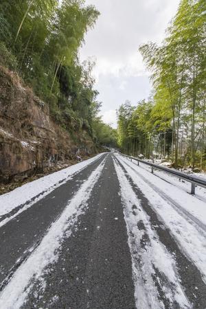 Snowy winding road