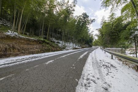 Snow winding road
