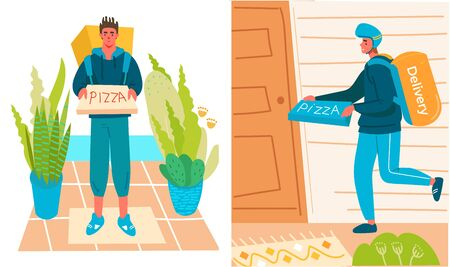 Delivery boys with pizza, Delivery service concept, online order tracking, delivery home and office. Flat Cartoon vector illustration.
