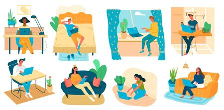 Freelance people work in comfortable conditions set vector flat illustration. Freelancer character working from home at relaxed pace, convenient workplace. Man and woman self employed concept