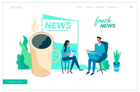 Modern flat vector illustration concept with presenters fresh morning news. Creative landing page design template. Stock Illustratie
