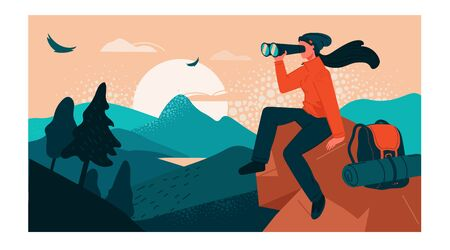 The girl traveler sitting on top of a cliff, looking at the valley in a binoculars from a height. Nature trips, discovery, hiking, adventure tourism and travel. Creative flat vector illustration.
