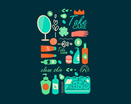 Hand drawn colorful picture in the doodle style, a set of elements of natural cosmetics in bottles, tubes, vials. Vector illustration on dark background.