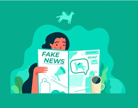 Modern flat vector illustration concept of woman reading fake news in the newspaper with a cup of coffee. Creative landing page design template on a colorful background.