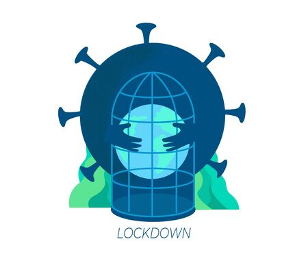 Flat vector concept or the global coronavirus pandemic Covid-19, lockdown planet. A large coronavirus holds the planet hostage. Creative design templates.