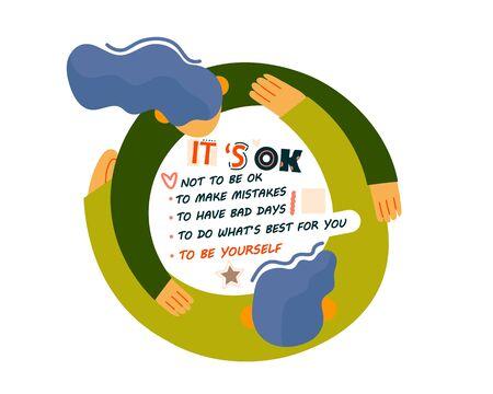 Mental health support slogans and motivational lettering.