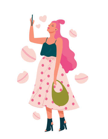 Young cute woman taking selfie on smartphone. Selfies creative concepts. Flat cartoon vector illustration for designers templates