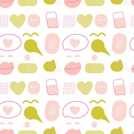 Seamless pattern with speech bubbles and abstract forms. Decorative vector illustration, good for printing. 일러스트
