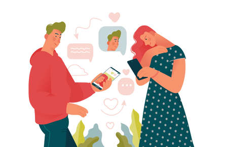 Young beauty man and woman loking for a couple in dating mobile app. Online dating creative concepts for designer templates. Colorful cartoon vector illustration, flat design.