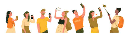 Group of young stylish women and men holdings smartphone, taking selfies. Selfies creative concepts. Flat cartoon vector illustration for designers templates