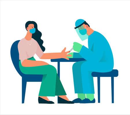 Healthcare worker with protective equipment performs coronavirus swab on Caucasian woman. Blood sampling from a finger. Coronavirus testing. Flat cartoon vector illustration.