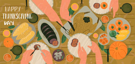 Celebrating Thanksgiving day creative concepts. Family Tradional dinner with traditional food. Family eating various snacks and roast turkey. Hand draw flat vector illustration in trendy style. Vektoros illusztráció
