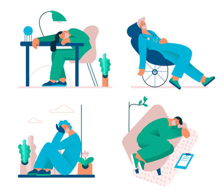 Tired overworked doctors, nurses, paramedics, vector flat isolated illustration. Exhausted Healthcare workers. Coronavirus pandemic, Covid-19 quarantine