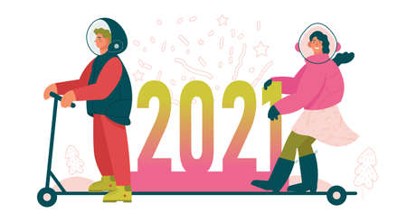New Year 2021 creative concept illustration. Woman and man with protective helmet with 2021 inscription on scooter. Colorful vector illustration for designers templates.