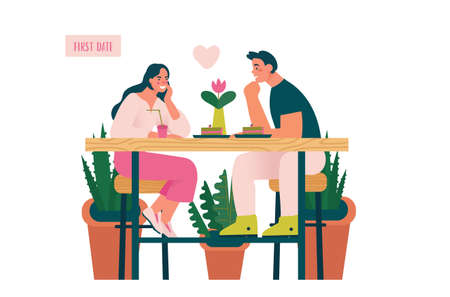 Young beautiful couple at first date in coffee shop. Woman and man first meeting in real life. Online dating creative concept. Cartoon Vector illustration.