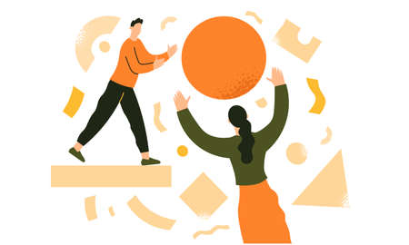 Colleagues throw the ball to each other. Team work, business partnership, coworking. Team metaphor. Business creative concept. Flat vector illustration in trendy style. Vector Illustratie