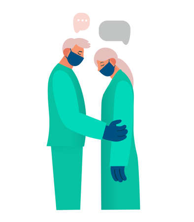 Healthcare worker supports and comforts the patient, expresses sympathy, reports something sad. Real emotions. Pain, sadness, despair. Flat cartoon vector illustration. Ilustración de vector