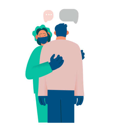 Healthcare worker supports and comforts the patient, compassion, reports something sad. Real emotions. Pain, sadness, despair. Flat cartoon vector illustration.