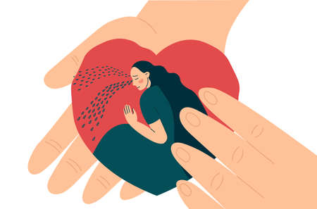 Hands hold heart inside crying woman or girl. Compassion, support and comfort. Help in overcoming depression. Flat vector illustration in trendy style.