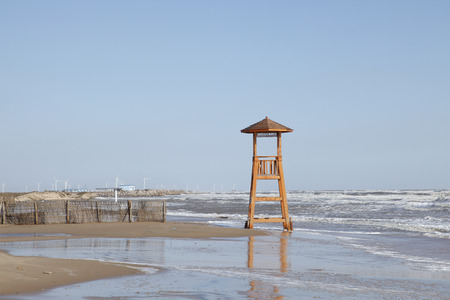 The scenery of the sea, there are wooden watchtower photo