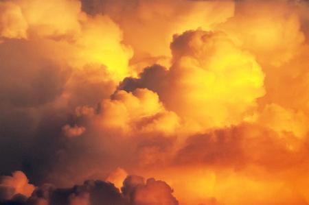 Clouds shining in the setting sun