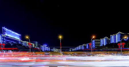 Qinglong Wangfu, Qinglongqiao Shaoyang City traffic night scene Editorial