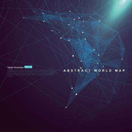 Mappa del mondo punto, linea, composizione della superficie mostra la connessione di rete globale