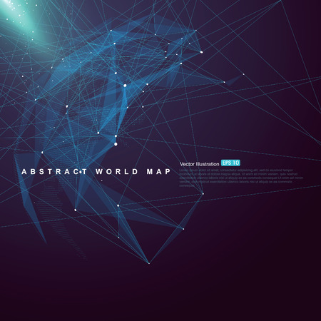 RESEAU: Carte du monde point, la ligne, la composition de surface montre la connexion réseau mondial