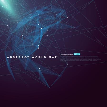 esfera: punto de mapa del mundo, línea, composición de la superficie muestra la conexión de la red global