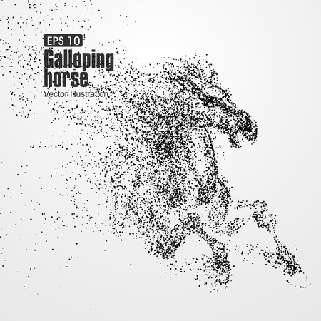 Galloping cheval, particules, illustration.