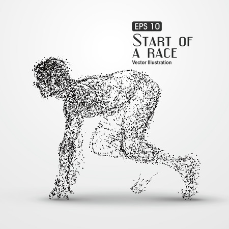 male athlete: Running Man, particle divergent composition, illustration. Illustration