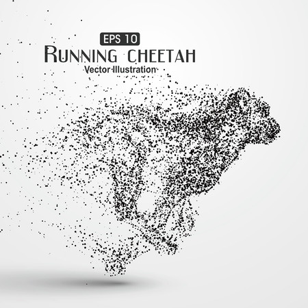 Particle cheetah, illustration. 向量圖像