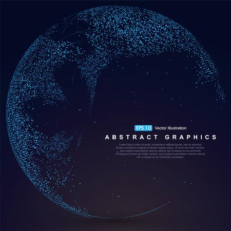 connexion: Carte du monde point, la ligne, la composition, ce qui représente la connexion réseau mondial global, sens international.
