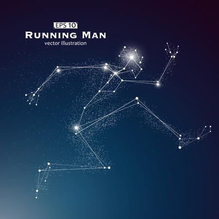 El hombre salta, puntos y líneas conectadas entre sí, un sentido de la ciencia y la tecnología de la ilustración.