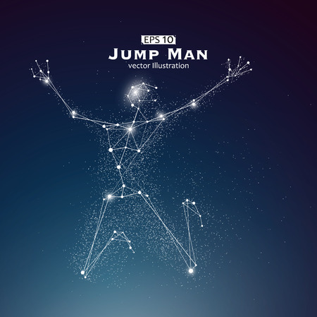 exceed: Jump Man, dots and lines connected together, a sense of science and technology illustration. Illustration