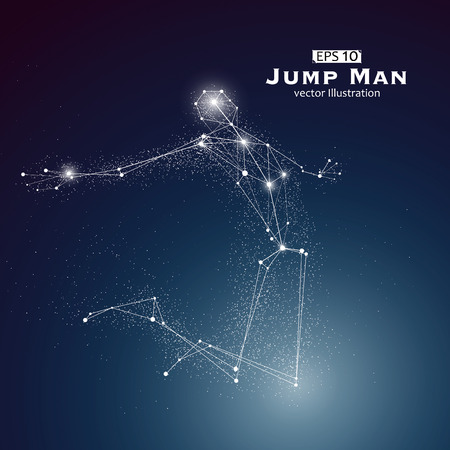 El hombre salta, puntos y líneas conectadas entre sí, un sentido de la ciencia y la tecnología de la ilustración. Ilustración de vector