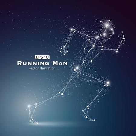 Funcionamiento del hombre, puntos y líneas conectadas entre sí, un sentido de la ciencia y la tecnología de la ilustración.