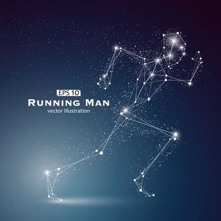Running Man, dots and lines connected together, a sense of science and technology illustration.